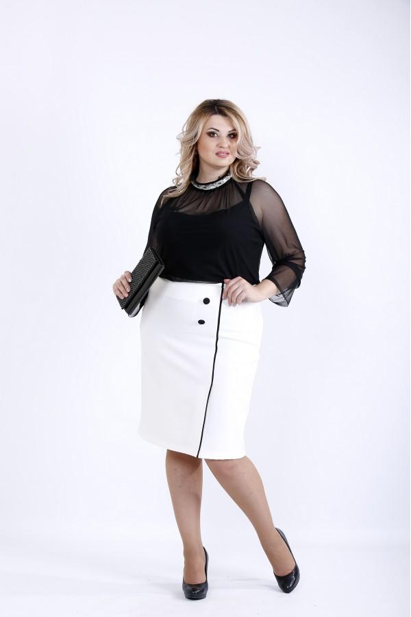 Фото  Чорна блузка з сіткою | 0896-1