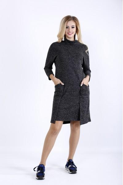 Фото Практичное темное платье до колена из ангоры | 0900-1