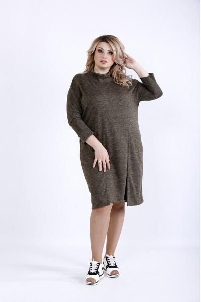 Фото  Гірчичне повсякденне трікотажне плаття | 0900-2