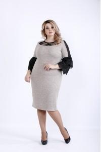 Фото  Світле плаття з темними вставками з гіпюру | 0901-3