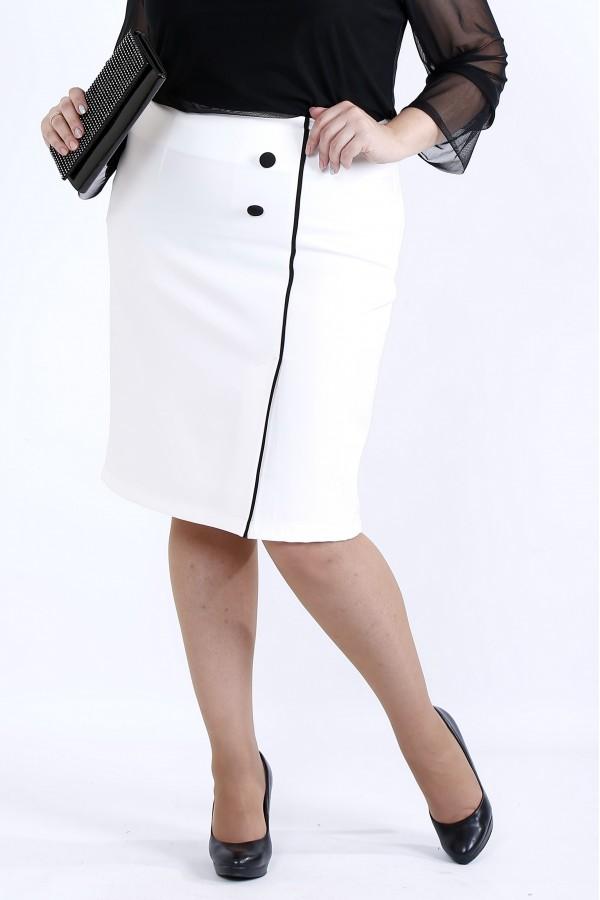 Фото Біла спідниця з чорним кантом | 0902-1