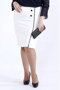 Фото Молочная юбка с синим кантом | 0902-3