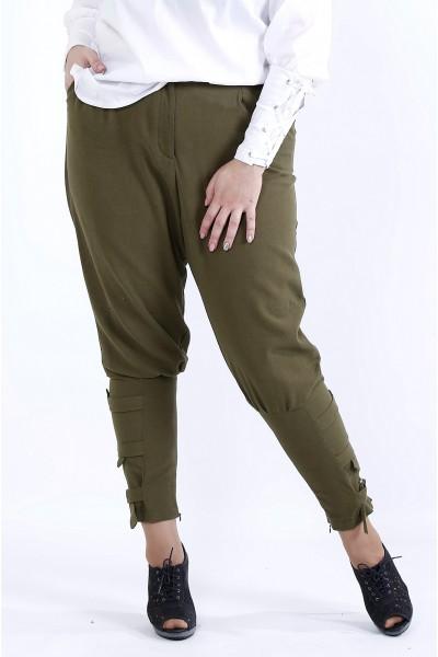 Фото  Вільні зручні штани хакі | b041-1