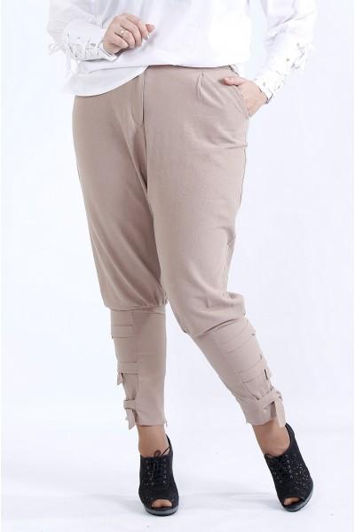 Фото  Бежеві вільні брюки | b041-2