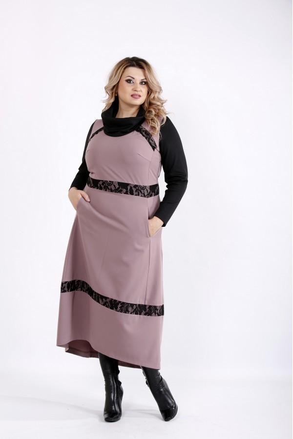 Фото Бисквитное платье с длинным рукавом | 0904-2