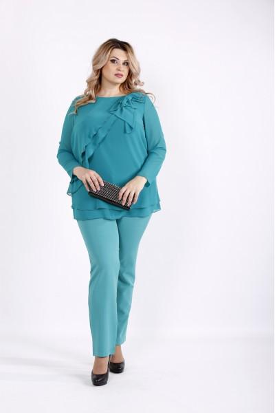 Фото Бирюзовый комплект: шифоновая блузка и брюки из костюмки | 0906-2