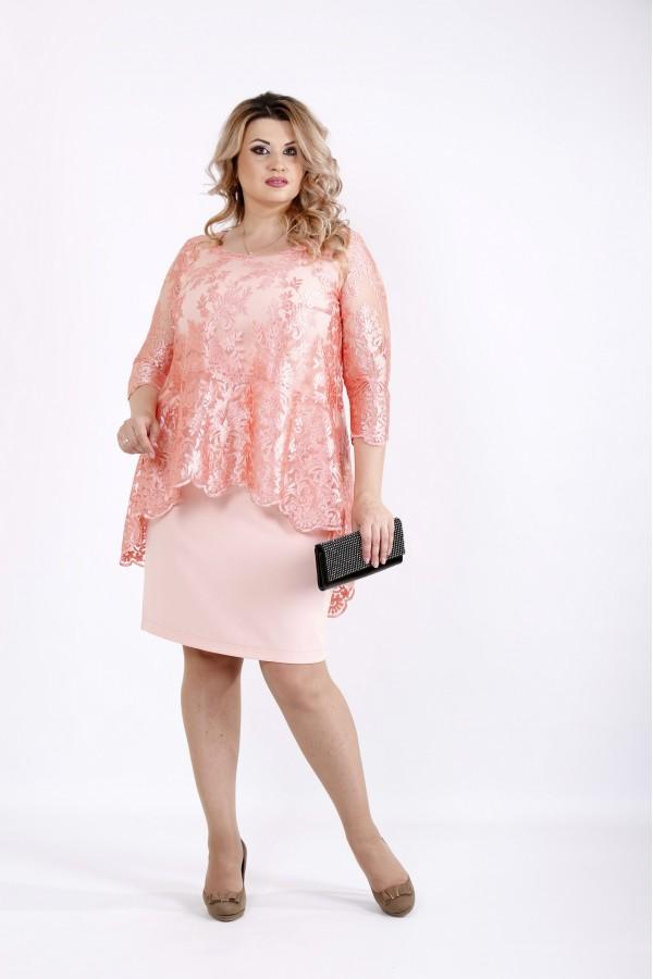 Фото Платье пудра до колена с гипюром | 0907-2