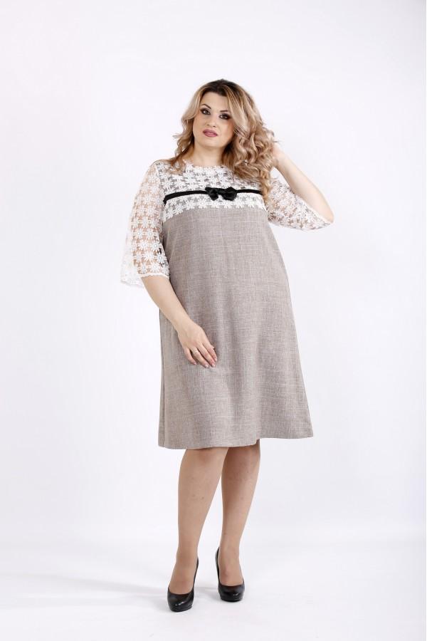 Фото Светлое свободное платье до колена | 0909-2