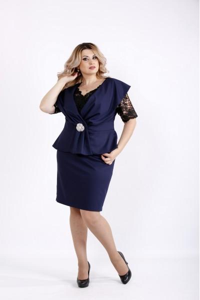 Фото Темно-синий комплект: платье и жакет без рукавов | 0914-2