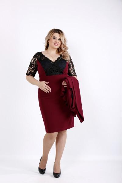 Фото Нарядный бордовый комплект - двойка: платье и жакет | 0914-3