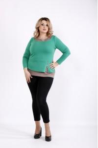 Фото Зеленая простая трикотажня блузка | 0918-3
