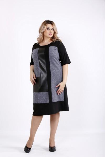 Фото Черное комбинированное платье | 0922-1