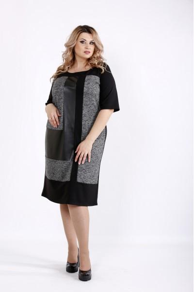 Фото Темное трикотжное платье с эко-кожей | 0922-3