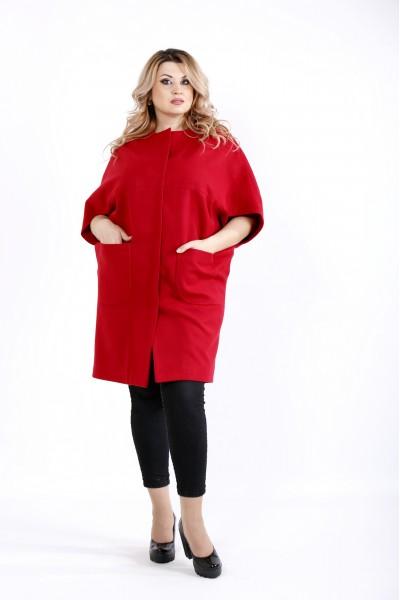 Фото Красное демисезонное пальто из кашемира | t0913-1