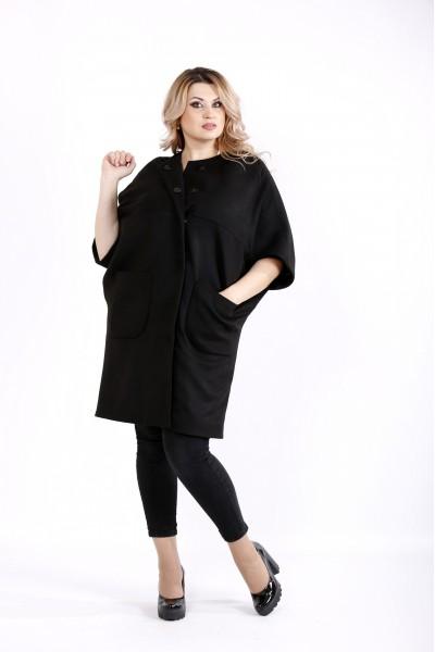 Фото Черное осеннее кашемировое пальто | t0913-2