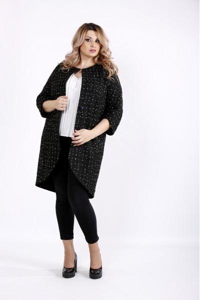 Фото Модное черное пальто с белыми точками | t0920-2