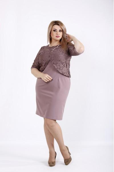 Фото Бисквитное платье выше колена | 0927-3