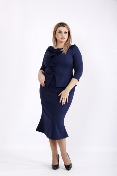 Фото Синее платье футляр из костюмки | 0928-1
