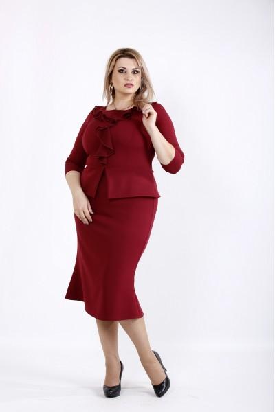 Фото Бордовое платье ниже колена | 0928-2