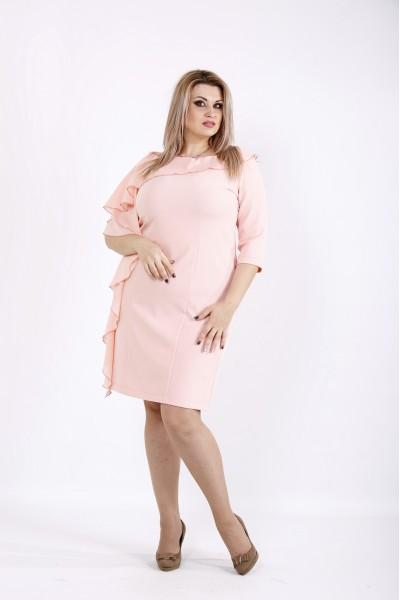 Фото Пудровое платье с шифоновой вставкой | 0930-1
