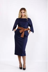 Фото Синее платье ниже колена | 0935-1