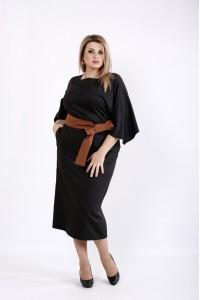 Фото Черное платье ниже колена с поясом | 0935-2