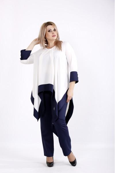 Фото Модный синий с белым костюм | 0937-2