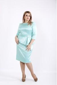 Фото Мятное платье из атласа | 0943-2