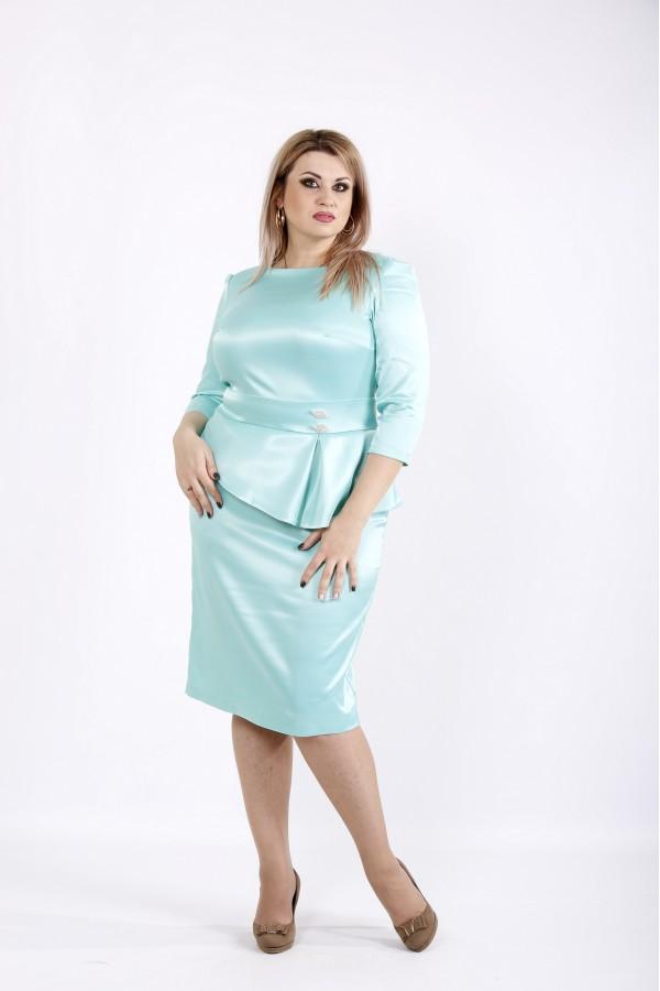 Фото Мятное платье из атласа   0943-2