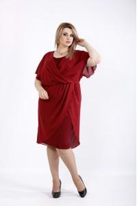 Фото Бордовое платье из масла и шифона | 0944-1