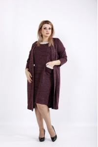 Фото Бордовый комплект: платье и накидка | 0946-3