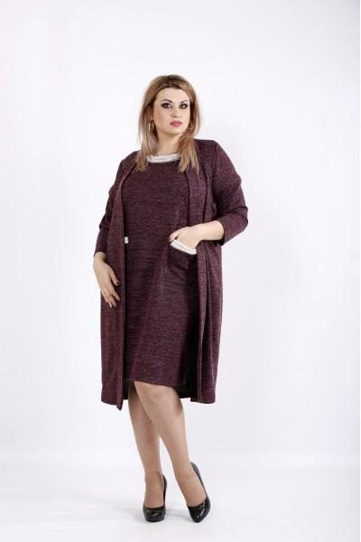 Фото Бордовий комплект: плаття і накидка | 0946-3