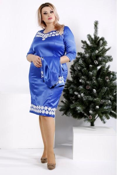 Фото Комплект: платье и жакет, цвет электрик | 0942-3
