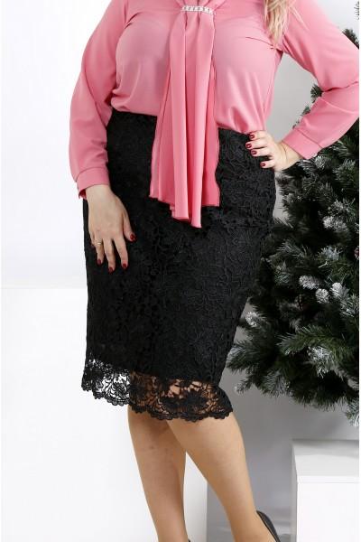Фото Черная юбка с макраме | 0950-1