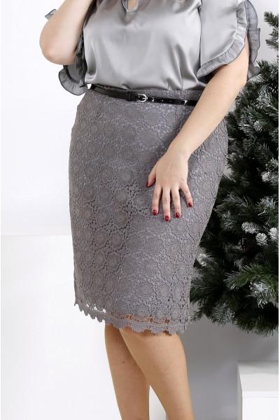 Фото Серая юбка до колена | 0950-4