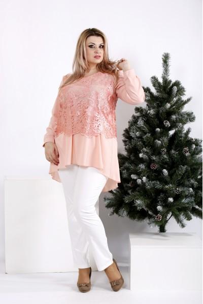 Фото Персиковая блузка ниже пояса | 0952-2