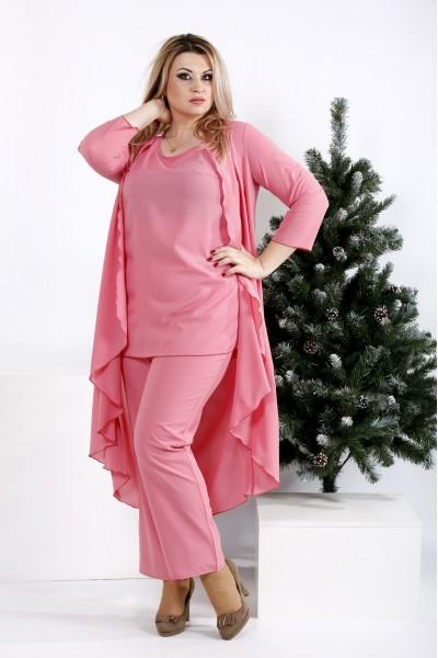 Фото Стильний і зручний костюм кольору фрезия: блузка, штани і накидка | 0957-2