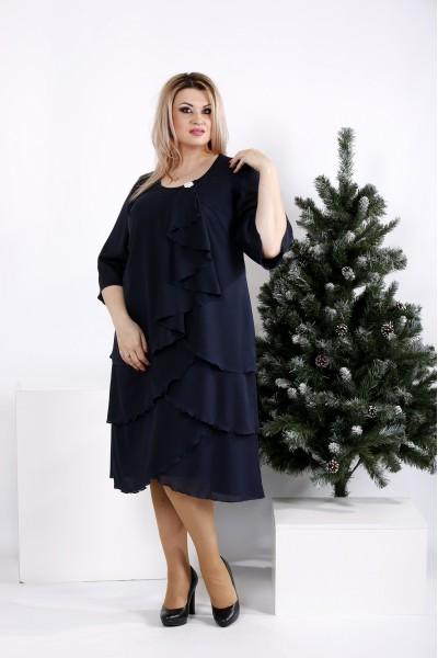 Фото Темно-синее свободное платье | 0959-1