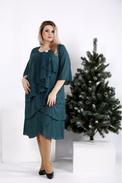 Фото Зеленое платье свободного кроя | 0959-2
