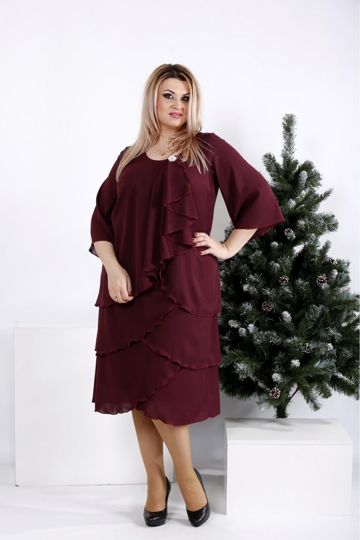 Купити Бордове вільне плаття з креп-шифону  5b9d5de34fc54