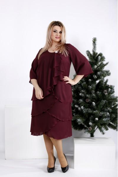 Фото Бордовое свободное платье из креп-шифона | 0959-3