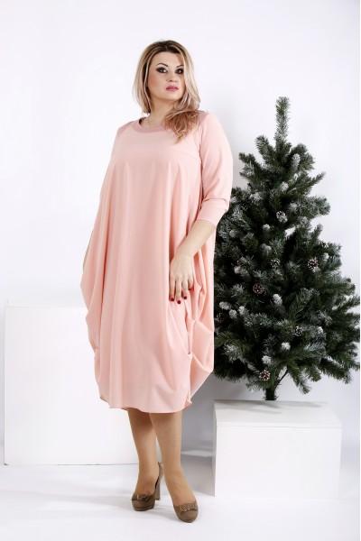 Фото Пудровое платье-мешок | 0960-2