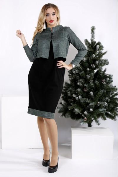 Фото Черное с зеленым деловое платье | 0961-1