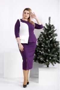 Фото Фиолетовое платье с белой вставкой | 0963-3