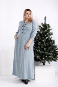 Фото Бирюзовое длинное платье из ангоры | 0964-3