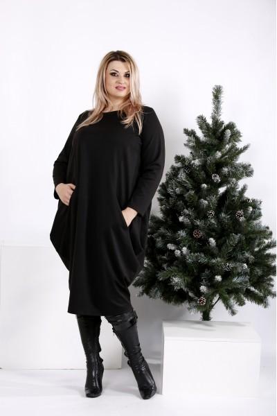 Фото Черное свободное платье-мешок   0971-1