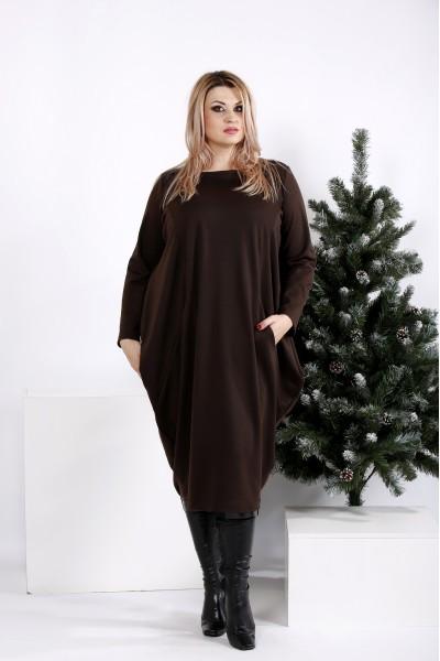 Фото Шоколадное свободное платье   0971-2