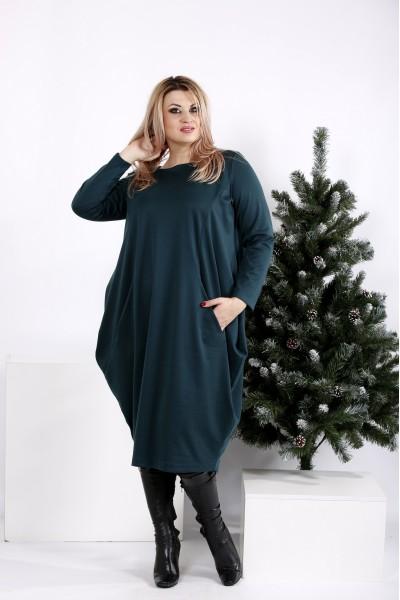Фото Зеленое скрывающее практичное платье   0971-3