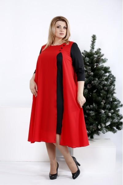 Фото Черное с алым платье ниже колена   0972-1