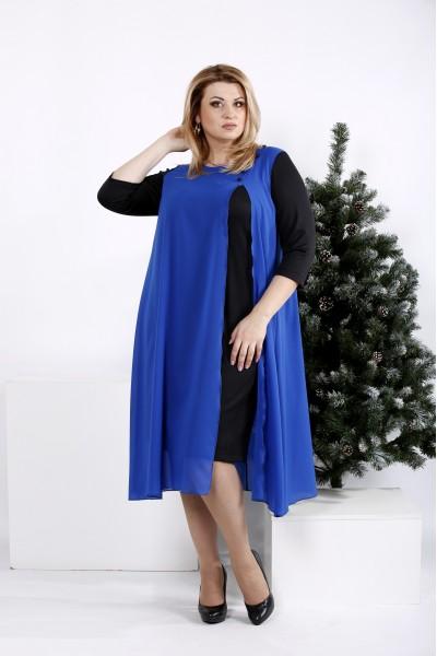 Фото Платье из черного трикотажа с синим шифоном   0972-2
